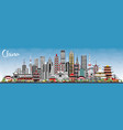 china city skyline with gray buildings and blue vector image vector image