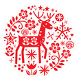 christmas round design with reindeer vector image vector image