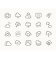 Cloud service server hosting line icons vector image