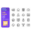 cloud storage line icons set vector image vector image
