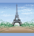 colorful landscape with eiffel tower vector image vector image