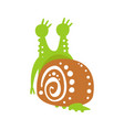 cute snail character back view funny mollusk vector image vector image