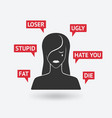 cyberbullying concept victim upset girl receiving vector image vector image