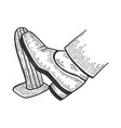 foot presses throttle pedal sketch vector image vector image