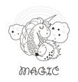 funny and hapy outlined cartoon style unicorn vector image vector image