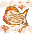 Graphic Maritime landscape of brown and beige fish vector image vector image