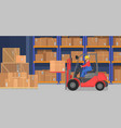 industrial modern warehouse interior with delivery vector image
