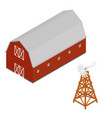 isometric red barn and water aerating windmill vector image vector image