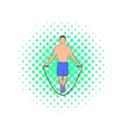 Man jumping with skipping rope icon comics style vector image vector image
