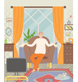 man sitting in armchair and watching tv vector image