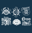 marine print set with sea octopus crab and helm vector image vector image