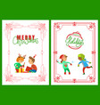 merry christmas and happy holidays children set vector image vector image