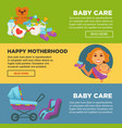 motherhood baby care newborn web site banners vector image vector image