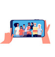 phone with family photo hands holding smartphone vector image vector image