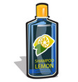 plastic bottle with a cap filled with a lemon vector image