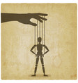 puppet standing with hands on hips vintage vector image vector image