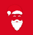 santa claus in hat on red background claus vector image vector image