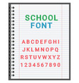 school font alphabet in notebook vector image