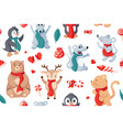 seamless christmas pattern background with animals vector image vector image