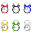 set isolated colorful alarm clocks vector image vector image
