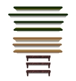 set shelves different colors and sizes vector image