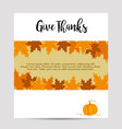 thanksgiving autumn background with pumpkin vector image vector image