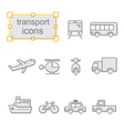 Thin line icons set Transport vector image