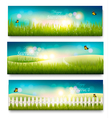 Three beautiful summer meadow landscape banners vector image vector image