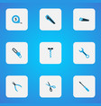 tools icons colored set with scissors bolt clamp vector image vector image