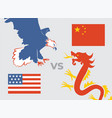 trade war concept usa versus china eagle and vector image