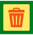 Trash Can flat orange and yellow colors rounded vector image