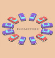 twelve parked cars of different colors vector image vector image
