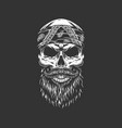 vintage monochrome rocker skull in bandana vector image vector image