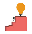 white background with businesswoman climbing stair vector image