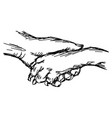 hand of man and dog shaking vector image