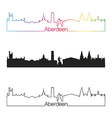 Aberdeen skyline linear style with rainbow vector image vector image