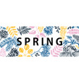 banner with spring trees in flowers hand d vector image vector image