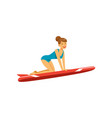 beautiful girl in blue swimsuit with red surfboard vector image vector image