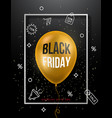black friday sale poster with golden balloon vector image vector image