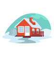 building in winter house covered with snow vector image vector image