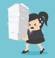 business woman holding a lot of documents vector image vector image