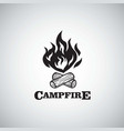 campfire mountain adventure retro logo vector image vector image