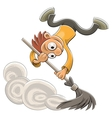 cleaner sweeping dust with a broom vector image vector image