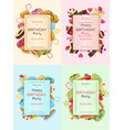colorful birthday party invitation cards vector image vector image