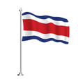 costa rica flag isolated wave flag costa rica vector image vector image