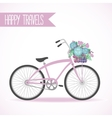 Cute bicycle with basket full of flowers vector image vector image