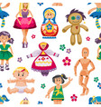 cute doll toys set childhood badress vector image vector image