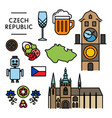 czech traditional things icons isolated set vector image
