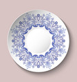decorative plate decorated with blue ethnic vector image vector image