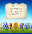 easter background with grass and sign vector image vector image
